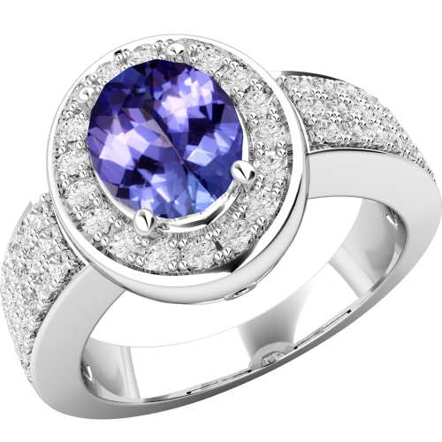 A beautiful Oval Cut tanzanite & diamond ring in 18ct white gold