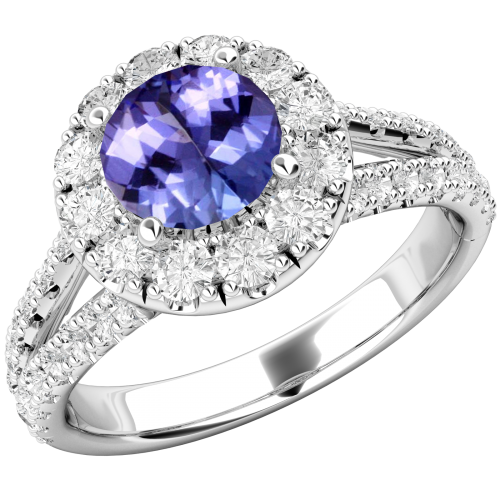 A beautiful Tanzanite and diamond cluster in 18ct white gold