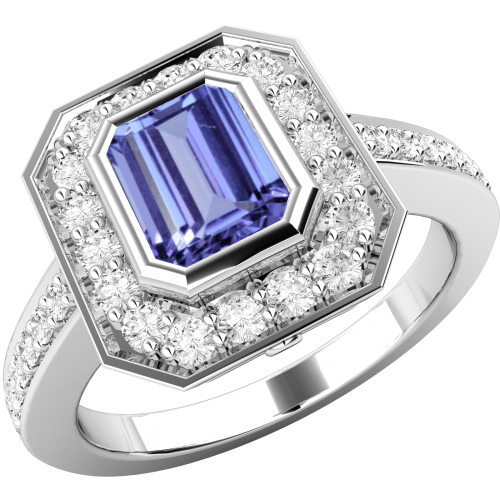 A classic tanzanite & diamond cluster style ring in 18ct white gold