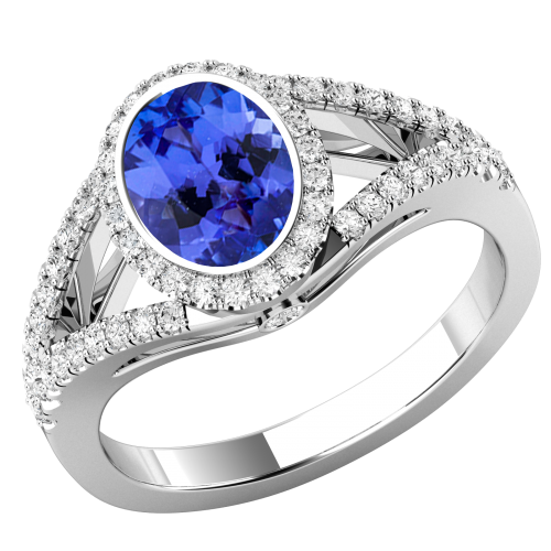 A Stunning Tanzanite & diamond cluster style ring with shoulder stones in 18ct white gold