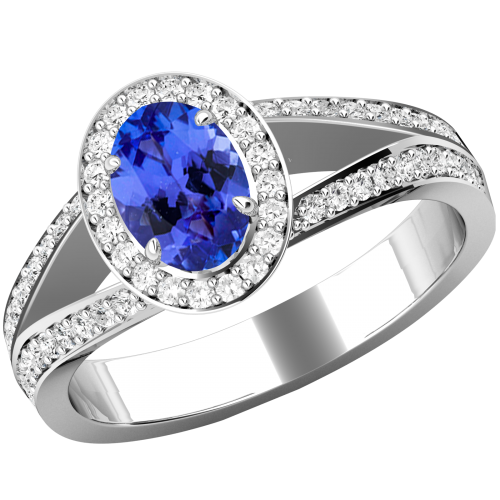 A sensational Tanzanite and diamond cluster with shoulder stones in 18ct white gold