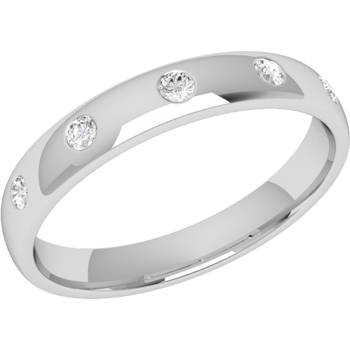 A stylish diamond set courted ladies wedding ring in palladium