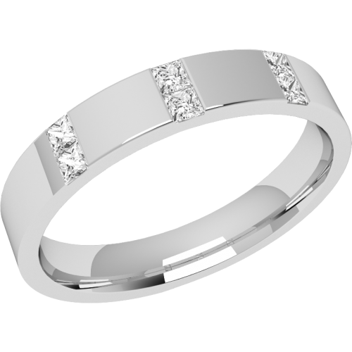 An eye catching diamond set ladies wedding ring in 18ct white gold