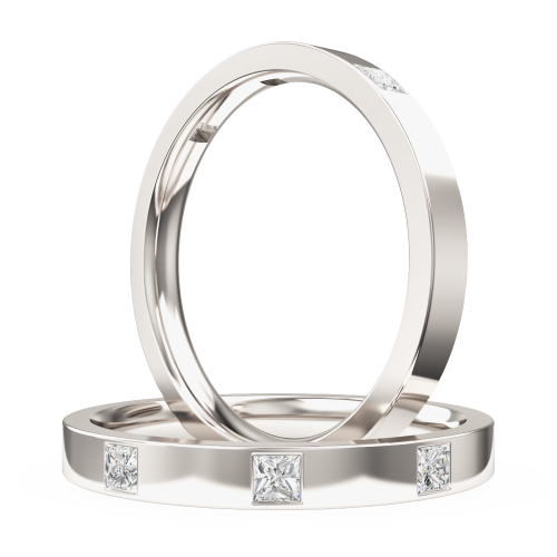 An eye catching Princess Cut diamond set ladies wedding ring in palladium