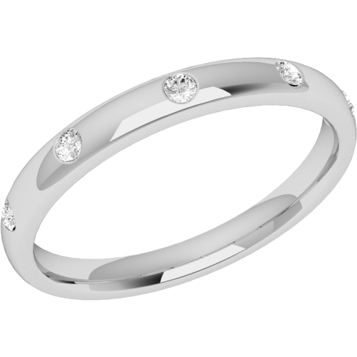 An elegant diamond set courted ladies wedding ring in 18ct white gold