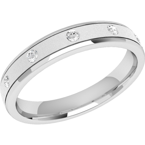 A striking ladies diamond set wedding ring in platinum