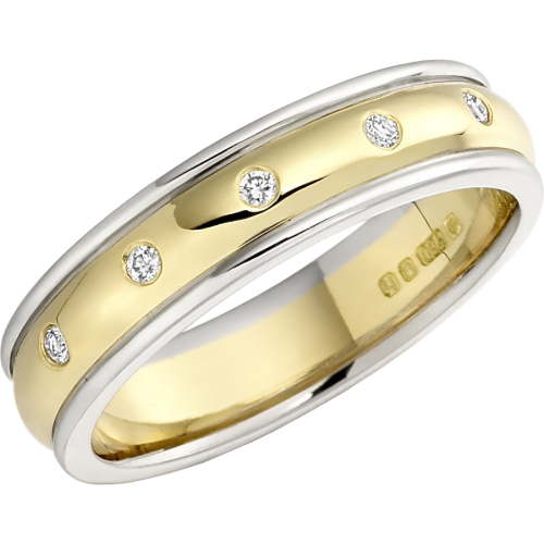 A stunning ladies diamond set wedding ring in 18ct yellow & white gold