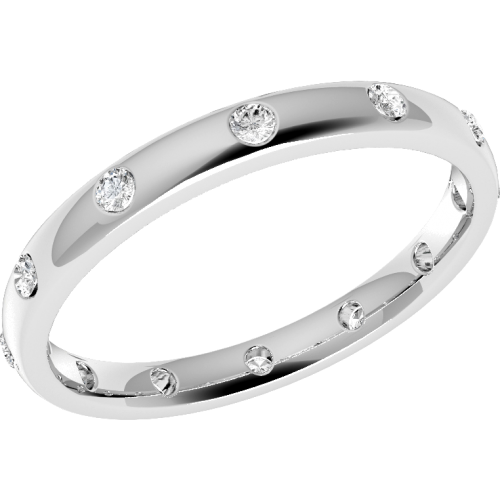 A beautiful diamond set courted ladies wedding ring in palladium