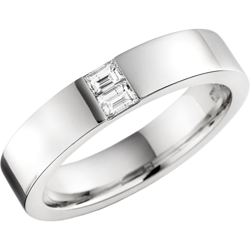 A stunning Baguette Cut diamond set ladies wedding ring palladium