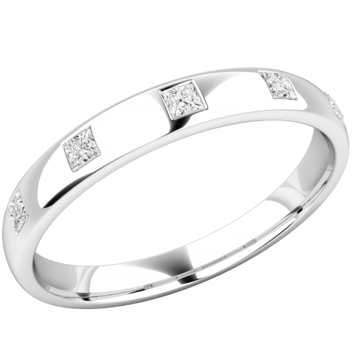 An elegant diamond set courted ladies wedding ring in palladium (In stock)