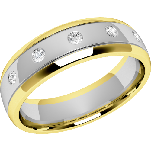 A unique ladies diamond set wedding ring in 18ct white & yellow gold