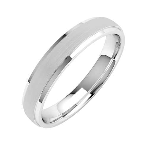 A beautiful ladies mixed finish wedding ring in platinum