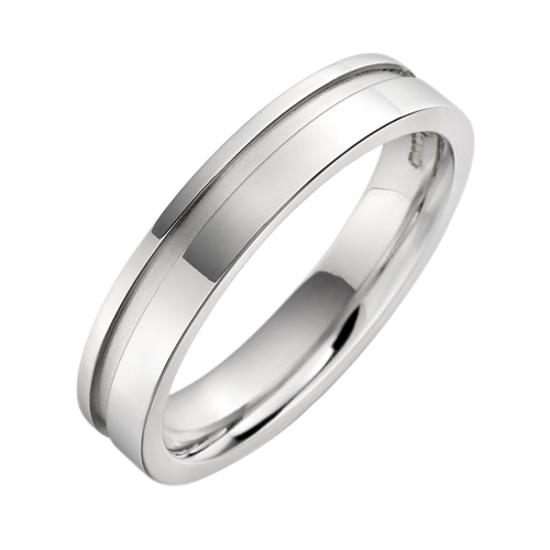 An eye catching ladies mixed finish wedding ring in platinum