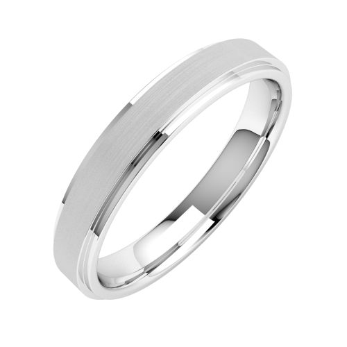A stylish ladies mixed finish wedding ring in platinum