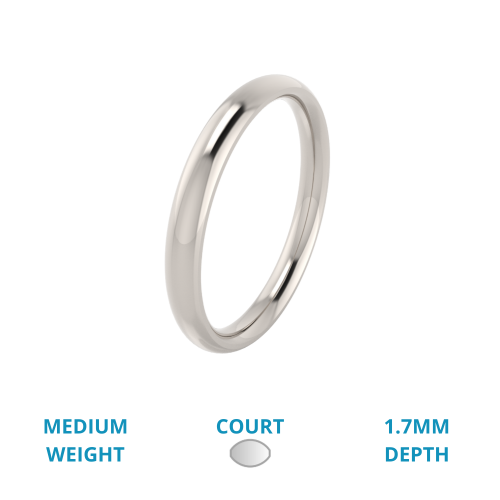 A classic courted ladies wedding ring in medium-weight 9ct white gold