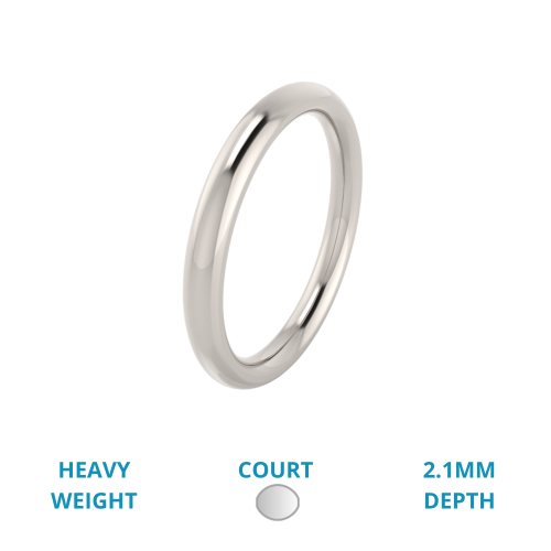 A classic courted ladies wedding ring in heavy-weight 9ct white gold