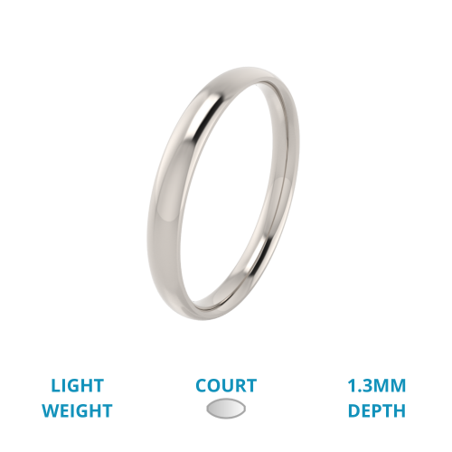 A classic courted ladies wedding ring in light-weight platinum
