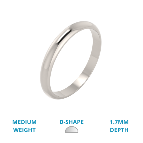 A stylish ladies D shape wedding ring in medium-weight 18ct white gold