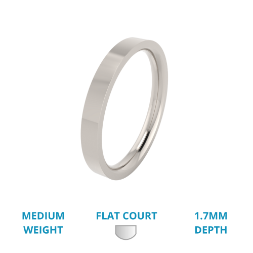 A timeless ladies flat top wedding ring in medium-weight platinum