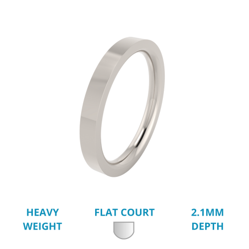 A timeless ladies flat top wedding ring in heavy-weight palladium