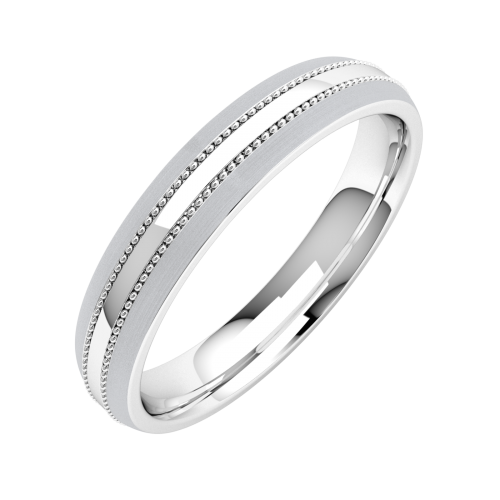 A striking mill-grained ladies wedding ring in medium platinum
