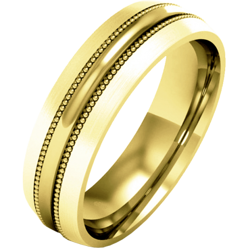 A striking mill-grained ladies wedding ring in medium 9ct yellow gold