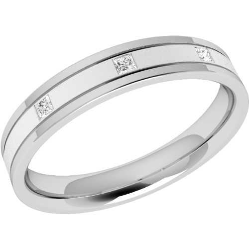 A striking ladies diamond set wedding ring in palladium