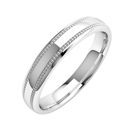 A stunning mill-grained ladies wedding ring in medium platinum