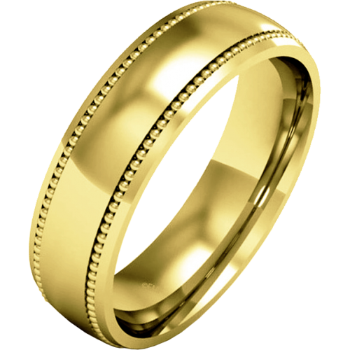 A stunning mill-grained ladies wedding ring in medium 9ct yellow gold
