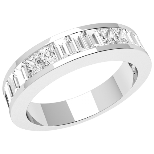 A stylish Princess & Baguette Cut diamond set ladies wedding ring in 18ct white gold