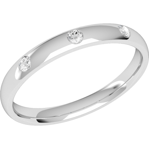 A classic diamond set ladies wedding ring in palladium