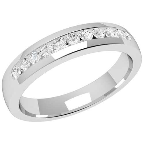 An elegant Round brilliant Cut diamond set ladies wedding ring in 18ct white gold