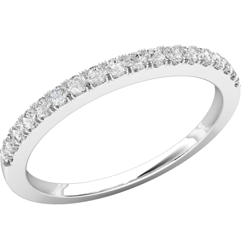A classic Round Brilliant Cut diamond set wedding/eternity ring in platinum