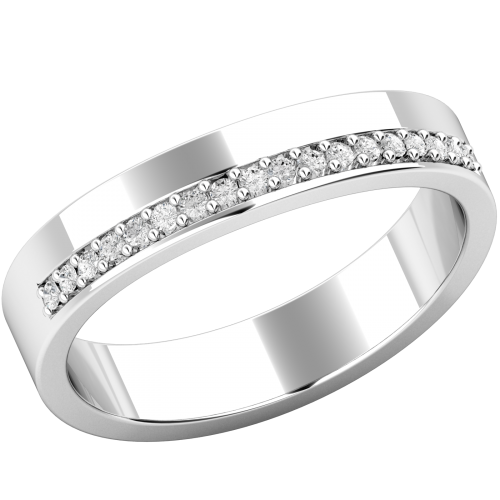 A round brilliant cut diamond set shaped wedding ring in 18ct white gold (In stock)