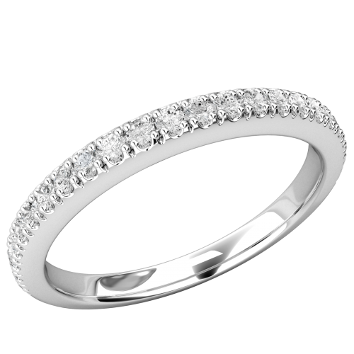 A stylish Round Brilliant Cut diamond wedding/eternity ring in 18ct white gold
