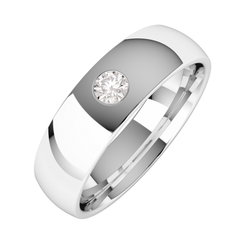 A stylish Round Brilliant Cut diamond set mens ring in palladium
