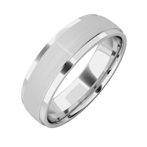 A stylish mixed finish mens wedding ring in palladium