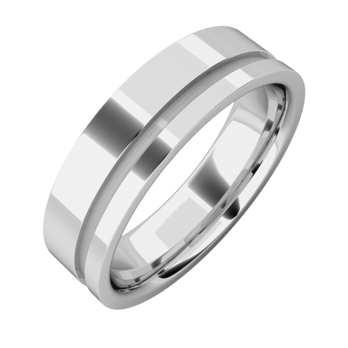 A classic grooved mens ring in 18ct white gold