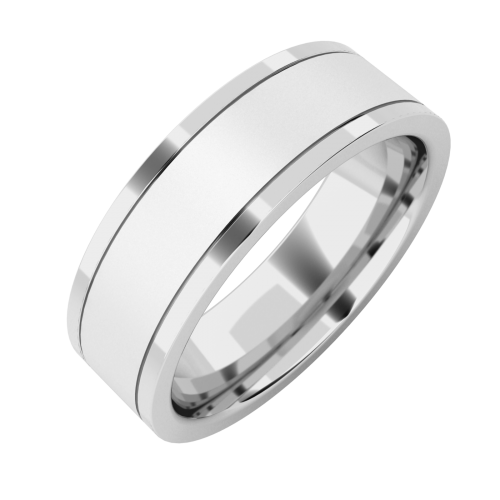 A stunning mixed finish mens wedding ring in 18ct white gold