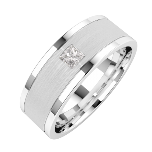 An elegant Princess Cut diamond set mens ring in 18ct white gold (In stock)
