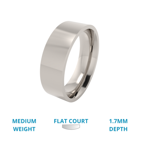 A traditional flat court mens ring in medium palladium