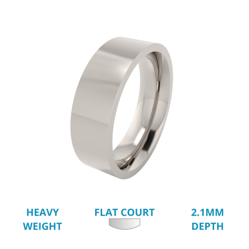 A classic flat court mens ring in heavy platinum