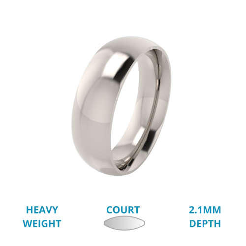 A classic courted mens ring in heavy 18ct white gold