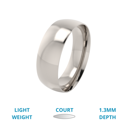 A classic courted mens ring in light 18ct white gold