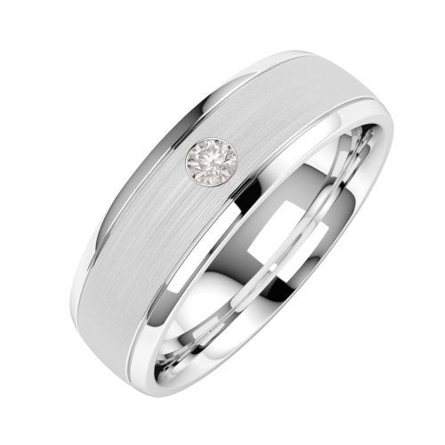 A classic Round Brilliant Cut diamond set mens wedding ring in 18ct white gold