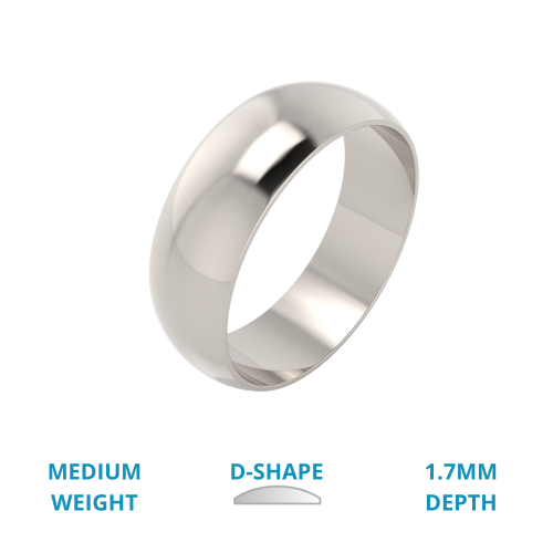 A stylish D shaped mens ring in medium 18ct white gold