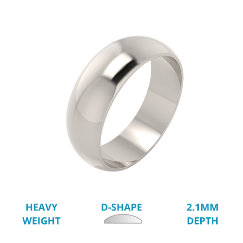 A simple and classic D shaped mens ring in heavy-weight 18ct white gold