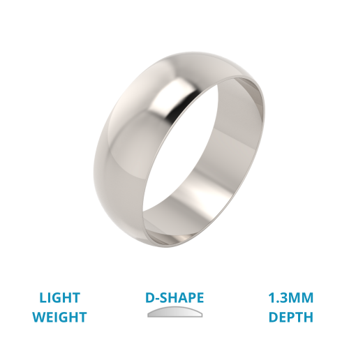 A stylish D shaped mens ring in light platinum