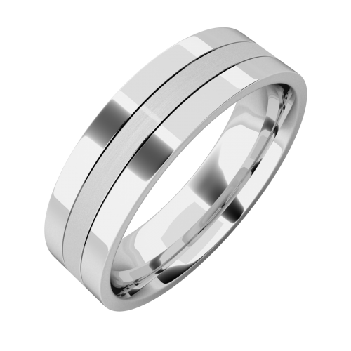 A classic mixed finish mens ring in palladium
