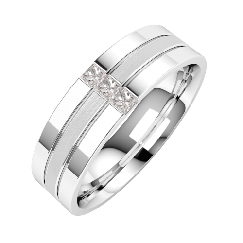A stunning Princess Cut diamond set mens wedding ring in palladium